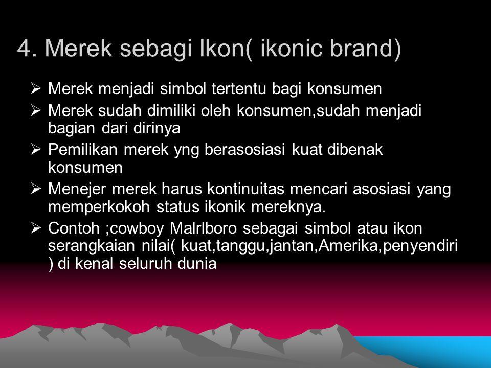 4. Merek sebagi Ikon( ikonic brand)  Merek menjadi simbol tertentu bagi konsumen  Merek sudah dimiliki oleh konsumen,sudah menjadi bagian dari dirin