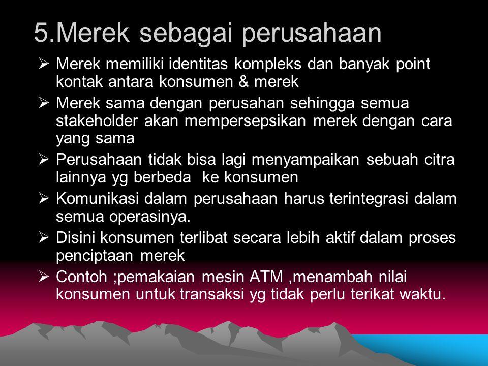 5.Merek sebagai perusahaan  Merek memiliki identitas kompleks dan banyak point kontak antara konsumen & merek  Merek sama dengan perusahan sehingga