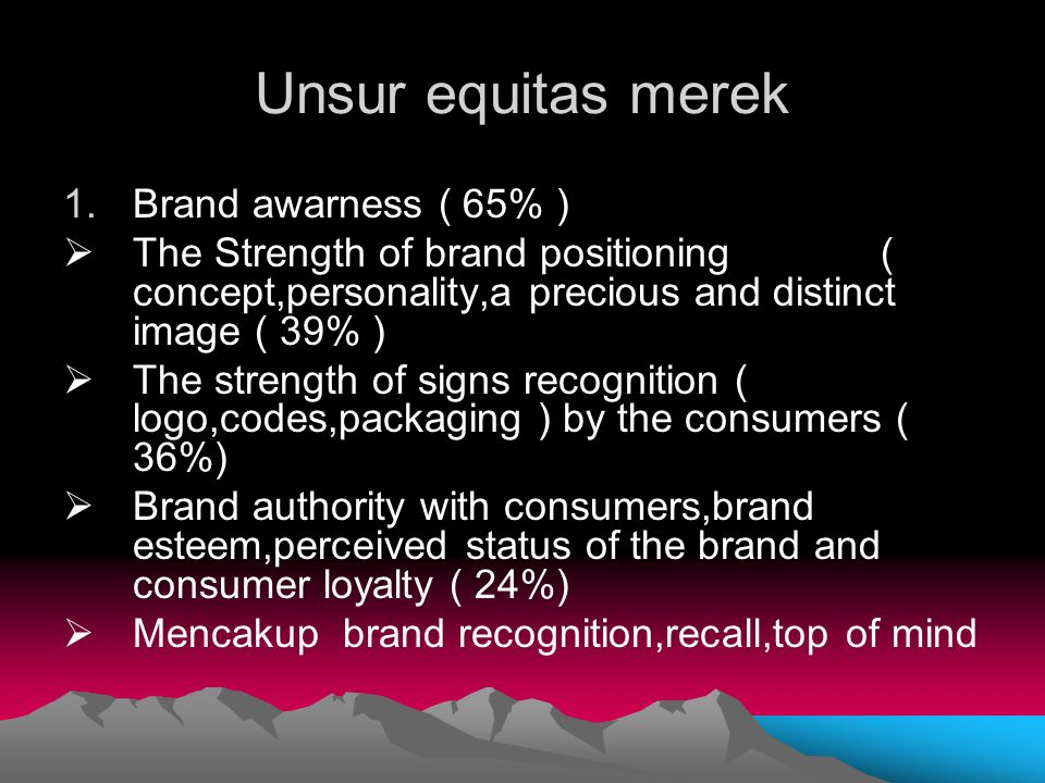Unsur equitas merek 1.Brand awarness ( 65% )  The Strength of brand positioning ( concept,personality,a precious and distinct image ( 39% )  The str