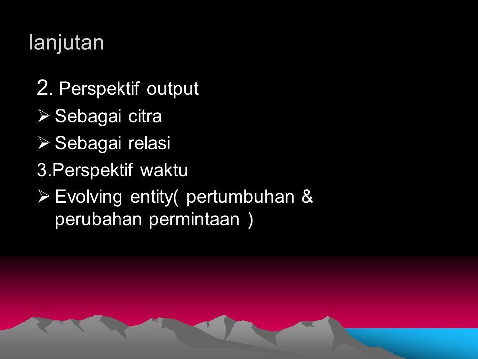 lanjutan 2. Perspektif output  Sebagai citra  Sebagai relasi 3.Perspektif waktu  Evolving entity( pertumbuhan & perubahan permintaan )