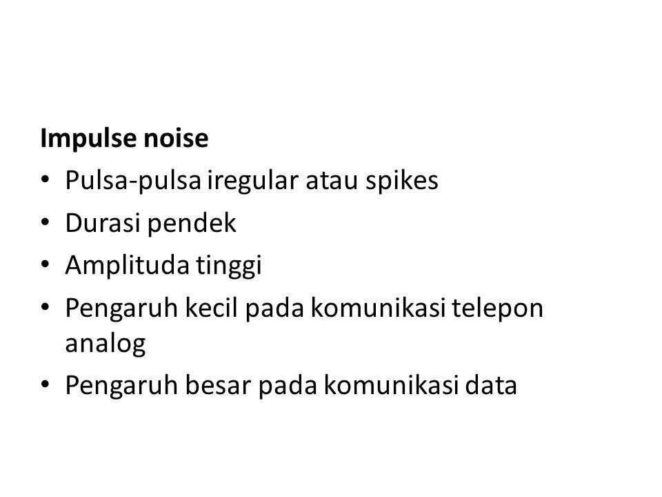 Impulse noise Pulsa-pulsa iregular atau spikes Durasi pendek Amplituda tinggi Pengaruh kecil pada komunikasi telepon analog Pengaruh besar pada komuni