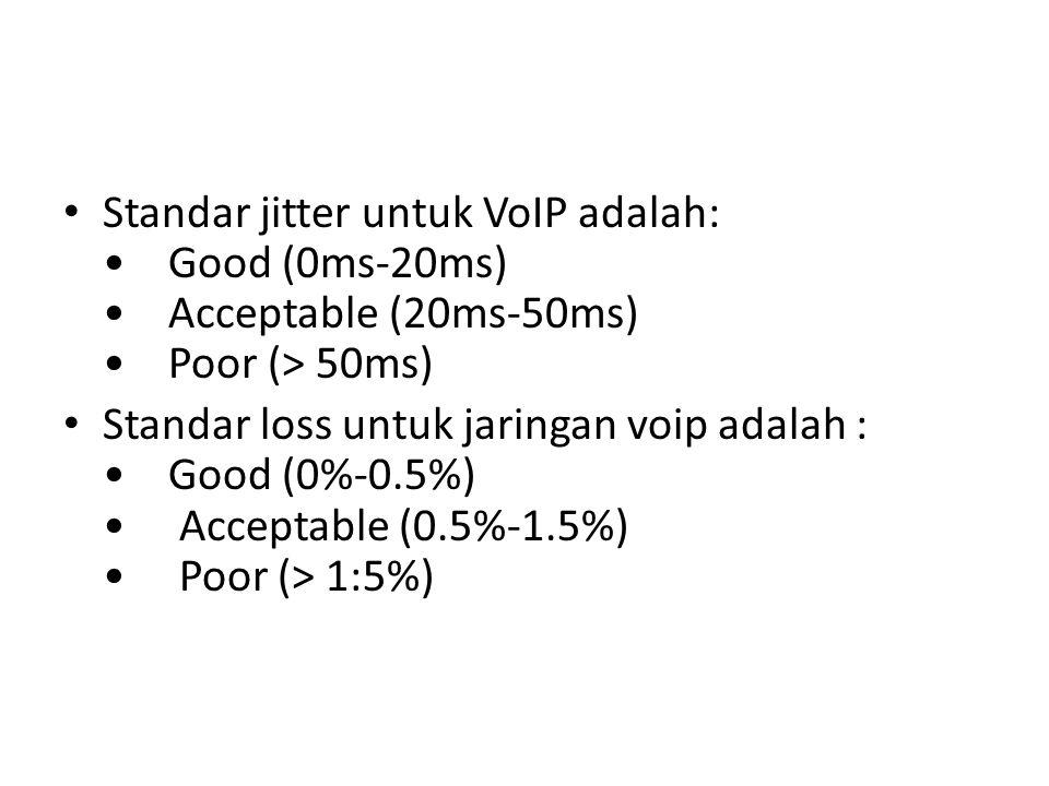 Standar jitter untuk VoIP adalah: Good (0ms-20ms) Acceptable (20ms-50ms) Poor (> 50ms) Standar loss untuk jaringan voip adalah : Good (0%-0.5%) Accept