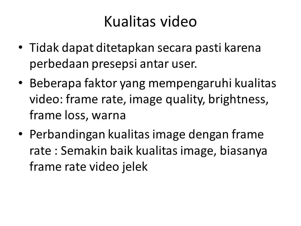 Kualitas video Tidak dapat ditetapkan secara pasti karena perbedaan presepsi antar user. Beberapa faktor yang mempengaruhi kualitas video: frame rate,