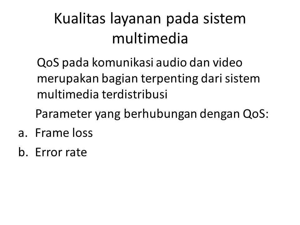 Frame loss Parameter dari sistem multimedia streaming yang dapat diukur, yaitu dengan cara mencari nilai selisih dari packet frame yang dikirim oleh transmitter (F Tx ) dikurang dengan packet frame yang diterima oleh receiver (F Rx ).
