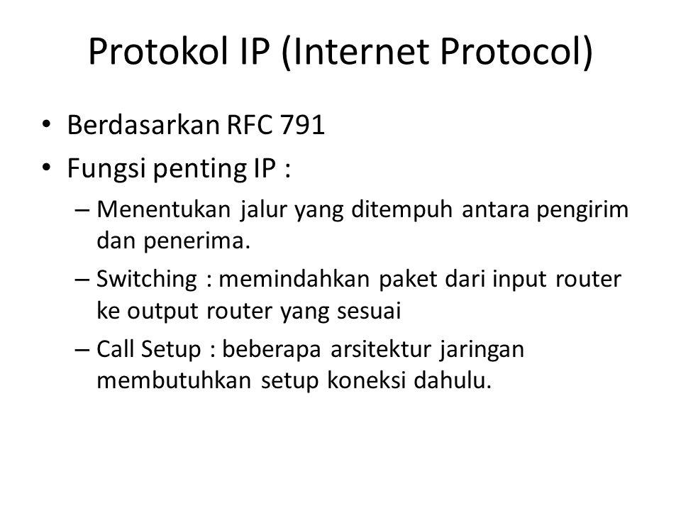 Protokol IP (Internet Protocol) Berdasarkan RFC 791 Fungsi penting IP : – Menentukan jalur yang ditempuh antara pengirim dan penerima. – Switching : m