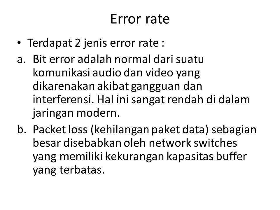 Error rate Terdapat 2 jenis error rate : a.Bit error adalah normal dari suatu komunikasi audio dan video yang dikarenakan akibat gangguan dan interfer