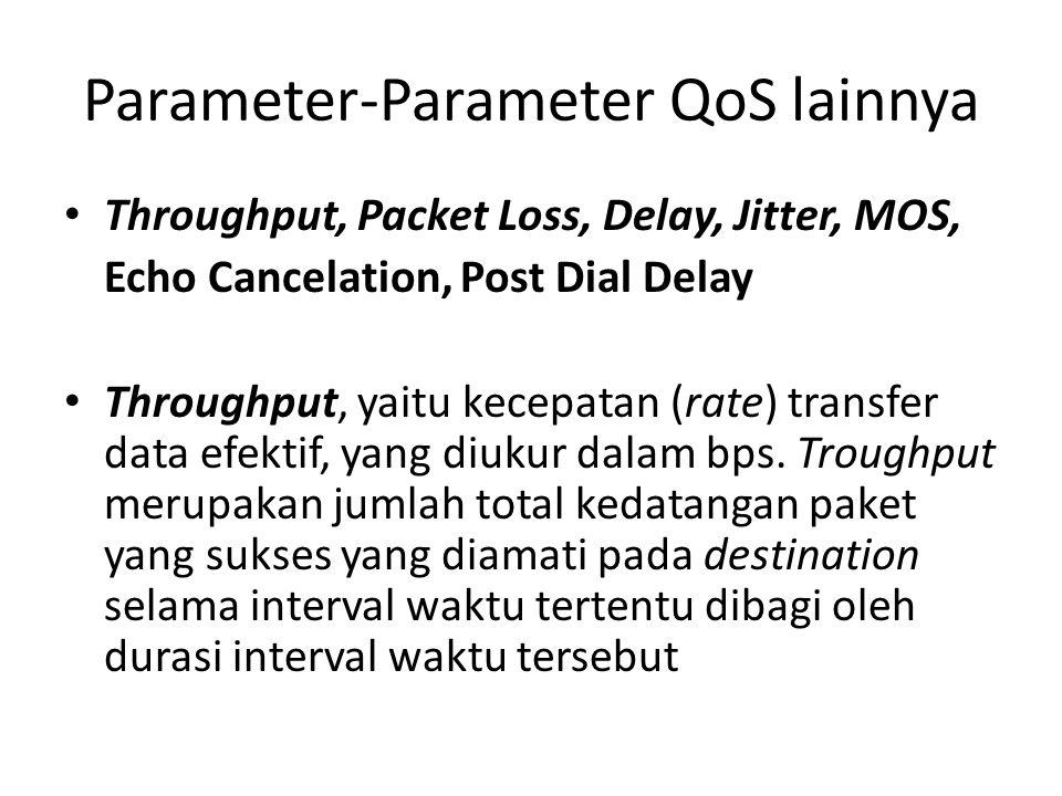 Parameter-Parameter QoS lainnya Throughput, Packet Loss, Delay, Jitter, MOS, Echo Cancelation, Post Dial Delay Throughput, yaitu kecepatan (rate) tran
