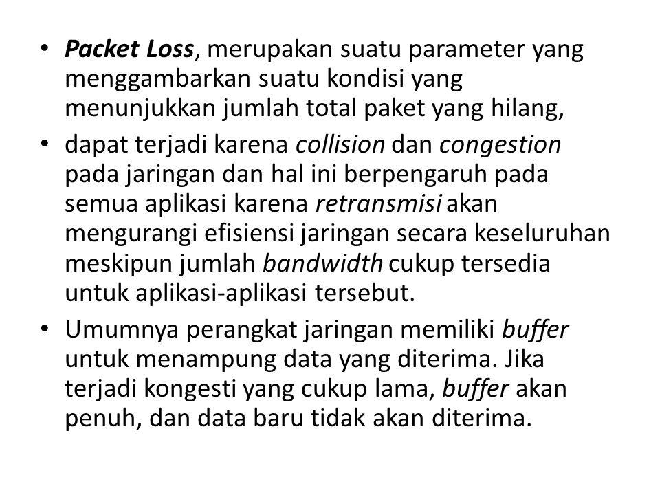 Packet Loss, merupakan suatu parameter yang menggambarkan suatu kondisi yang menunjukkan jumlah total paket yang hilang, dapat terjadi karena collisio