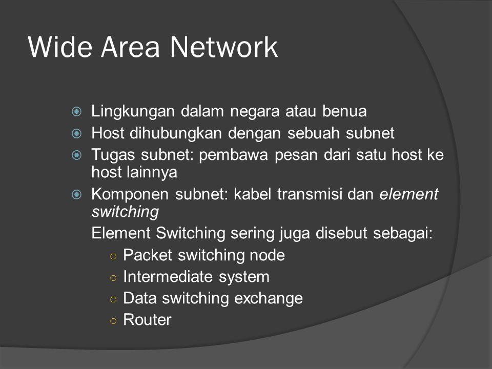 Wide Area Network  Lingkungan dalam negara atau benua  Host dihubungkan dengan sebuah subnet  Tugas subnet: pembawa pesan dari satu host ke host lainnya  Komponen subnet: kabel transmisi dan element switching Element Switching sering juga disebut sebagai: ○ Packet switching node ○ Intermediate system ○ Data switching exchange ○ Router