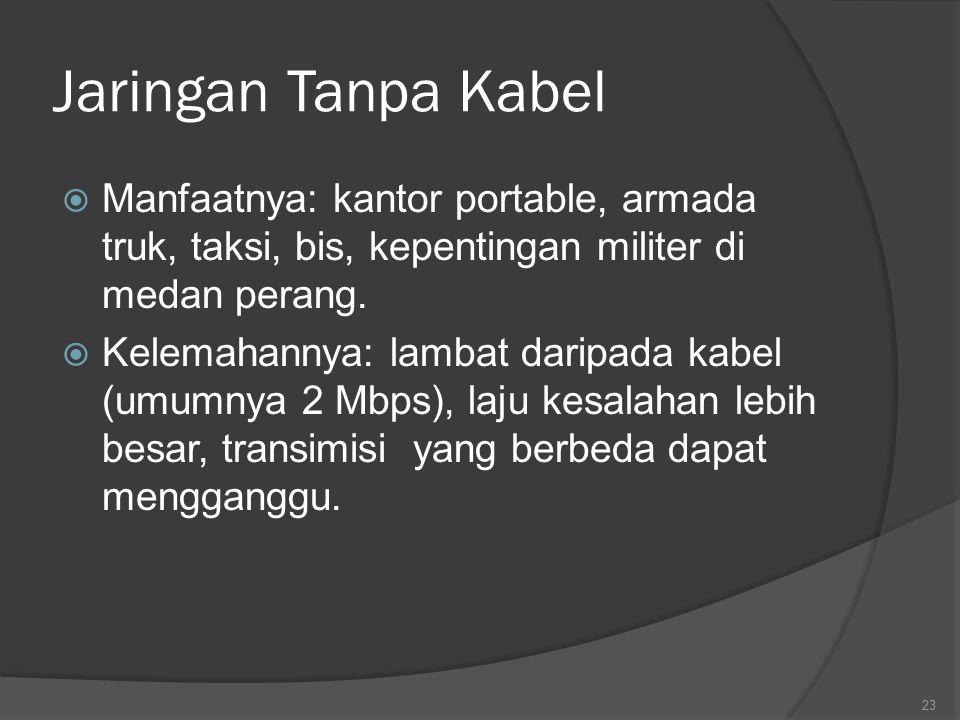 Jaringan Tanpa Kabel  Manfaatnya: kantor portable, armada truk, taksi, bis, kepentingan militer di medan perang.