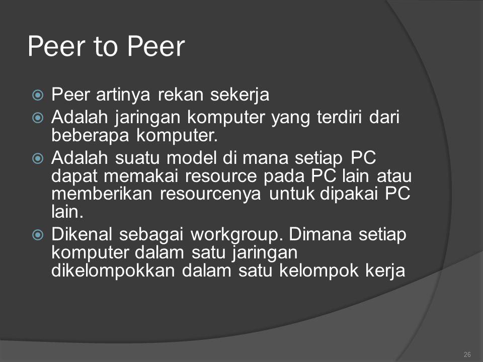 Peer to Peer  Peer artinya rekan sekerja  Adalah jaringan komputer yang terdiri dari beberapa komputer.