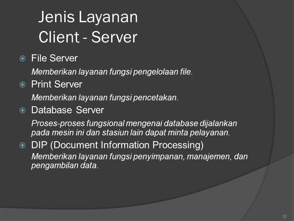 Jenis Layanan Client - Server  File Server Memberikan layanan fungsi pengelolaan file.