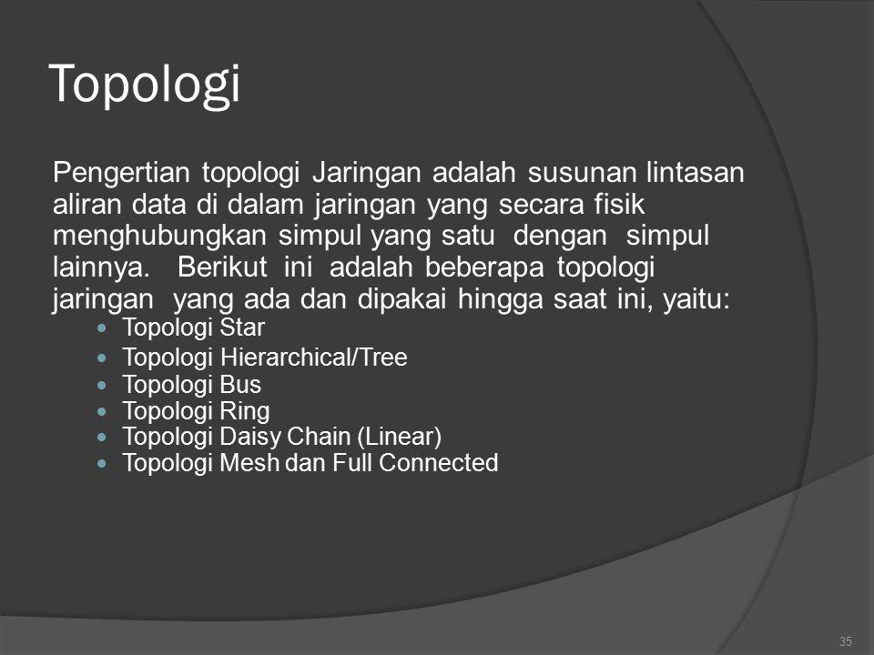 Topologi Pengertian topologi Jaringan adalah susunan lintasan aliran data di dalam jaringan yang secara fisik menghubungkan simpul yang satu dengan simpul lainnya.