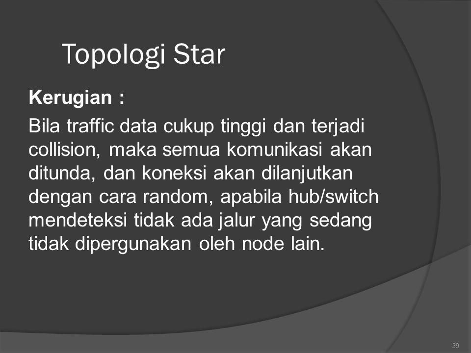 Topologi Star Kerugian : Bila traffic data cukup tinggi dan terjadi collision, maka semua komunikasi akan ditunda, dan koneksi akan dilanjutkan dengan cara random, apabila hub/switch mendeteksi tidak ada jalur yang sedang tidak dipergunakan oleh node lain.