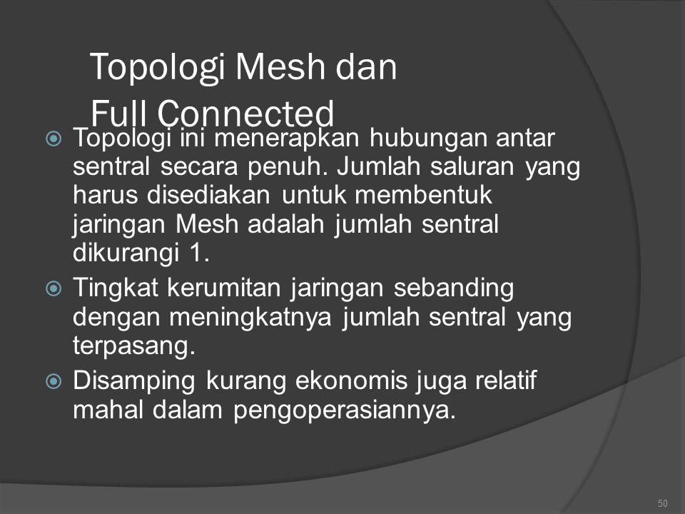 Topologi Mesh dan Full Connected  Topologi ini menerapkan hubungan antar sentral secara penuh.