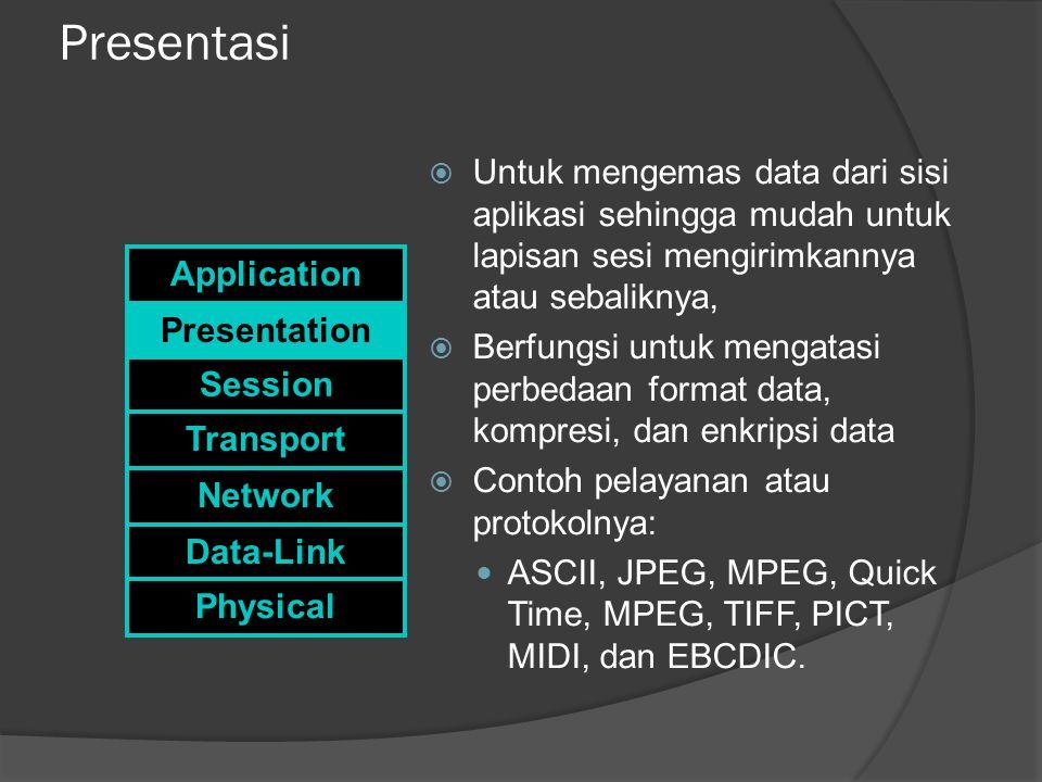 Presentasi  Untuk mengemas data dari sisi aplikasi sehingga mudah untuk lapisan sesi mengirimkannya atau sebaliknya,  Berfungsi untuk mengatasi perbedaan format data, kompresi, dan enkripsi data  Contoh pelayanan atau protokolnya: ASCII, JPEG, MPEG, Quick Time, MPEG, TIFF, PICT, MIDI, dan EBCDIC.