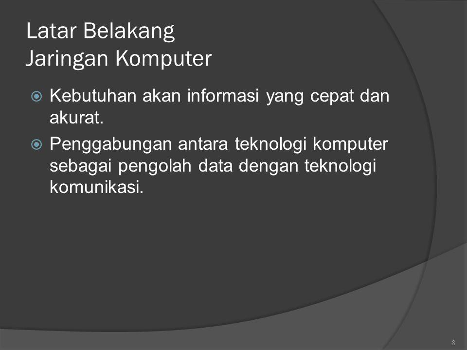 Klasifikasi Jaringan Komputer Berdasarkan Geografis  Local Area Network (LAN) (10m – 1 km) Local Area Network  Metropolitan Area Network (MAN) (10 km) Metropolitan Area Network  Wide Area Network (WAN) (100 – 1000 km) Wide Area Network  Jaringan Tanpa Kabel Jaringan Tanpa Kabel  Internetwork (10.000 Km) Internetwork 19