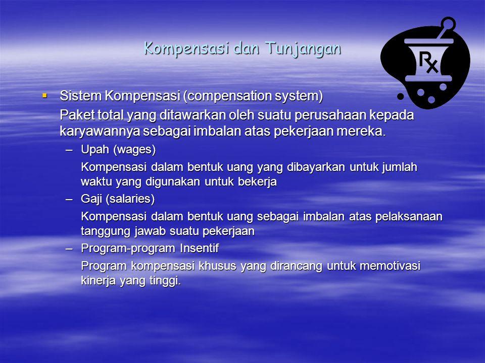 Kompensasi dan Tunjangan  Sistem Kompensasi (compensation system) Paket total yang ditawarkan oleh suatu perusahaan kepada karyawannya sebagai imbala