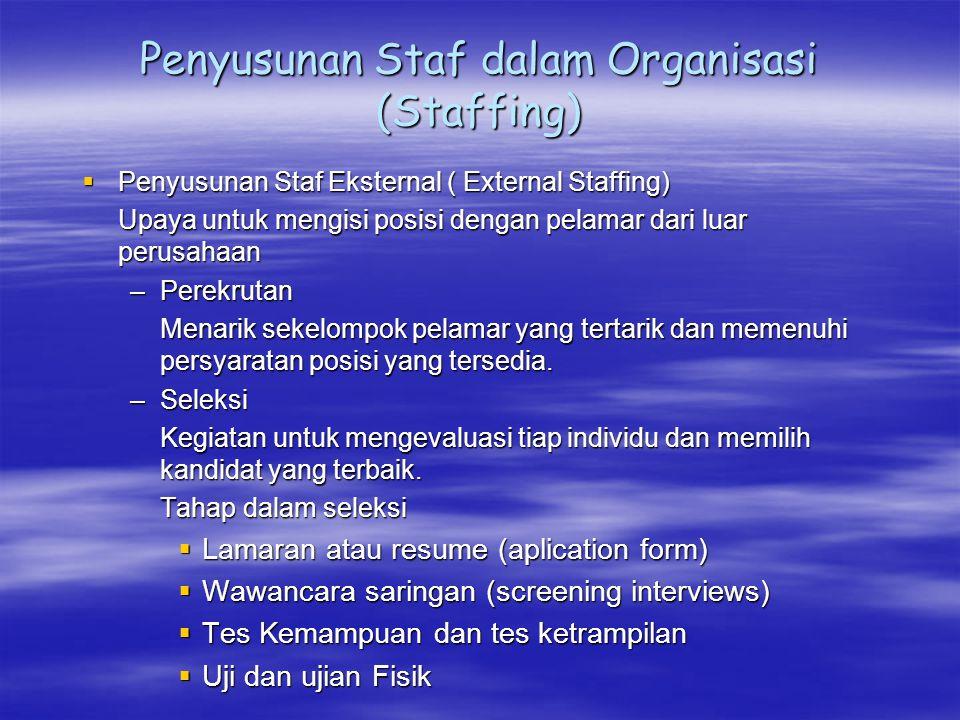 Penyusunan Staf dalam Organisasi (Staffing)  Penyusunan Staf Eksternal ( External Staffing) Upaya untuk mengisi posisi dengan pelamar dari luar perus