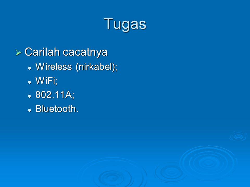 Tugas  Carilah cacatnya Wireless (nirkabel); Wireless (nirkabel); WiFi; WiFi; 802.11A; 802.11A; Bluetooth. Bluetooth.