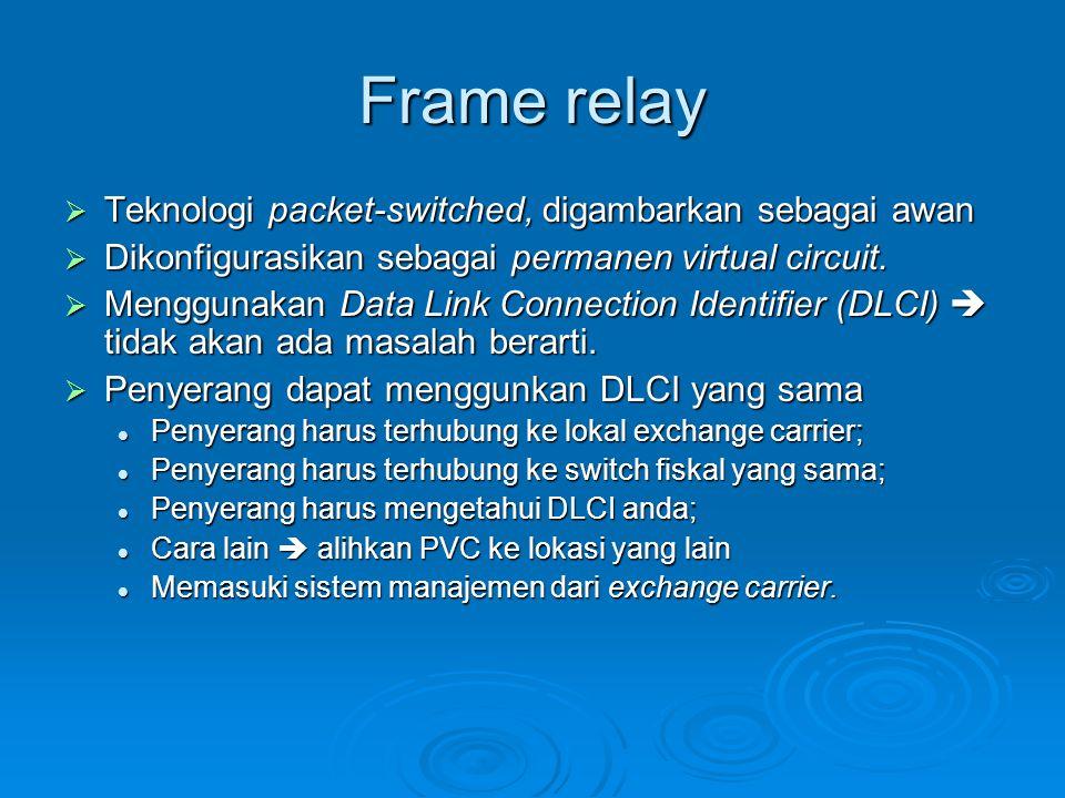 Frame relay  Teknologi packet-switched, digambarkan sebagai awan  Dikonfigurasikan sebagai permanen virtual circuit.  Menggunakan Data Link Connect