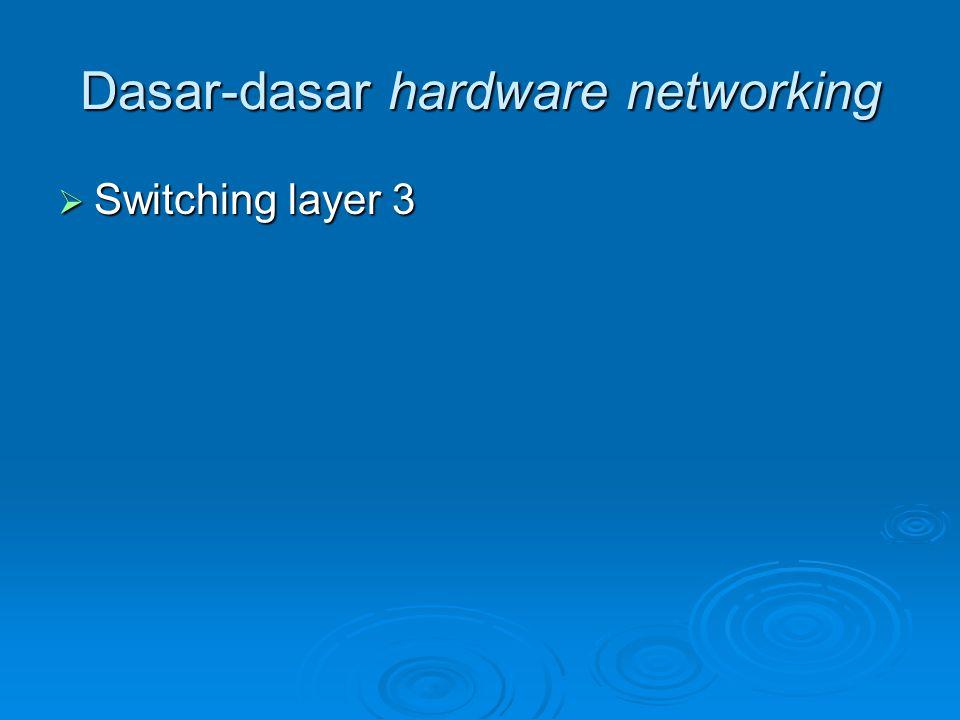 Dasar-dasar hardware networking  Switching layer 3