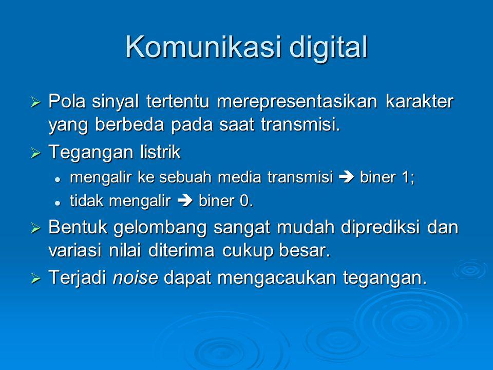 Komunikasi digital  Pola sinyal tertentu merepresentasikan karakter yang berbeda pada saat transmisi.  Tegangan listrik mengalir ke sebuah media tra