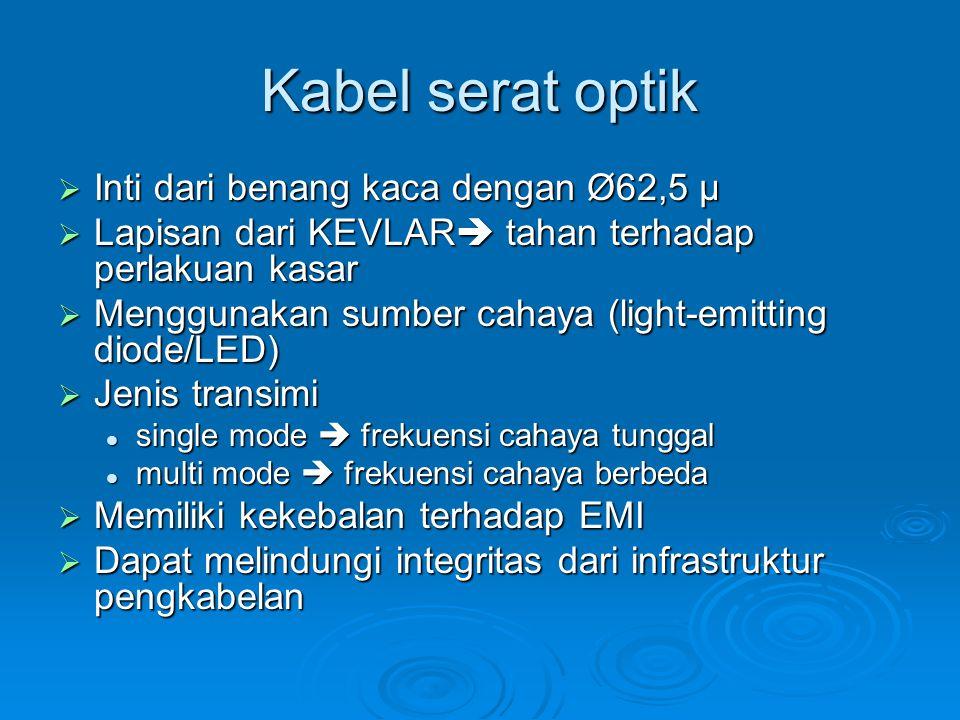 Kabel serat optik  Inti dari benang kaca dengan Ø62,5 µ  Lapisan dari KEVLAR  tahan terhadap perlakuan kasar  Menggunakan sumber cahaya (light-emi
