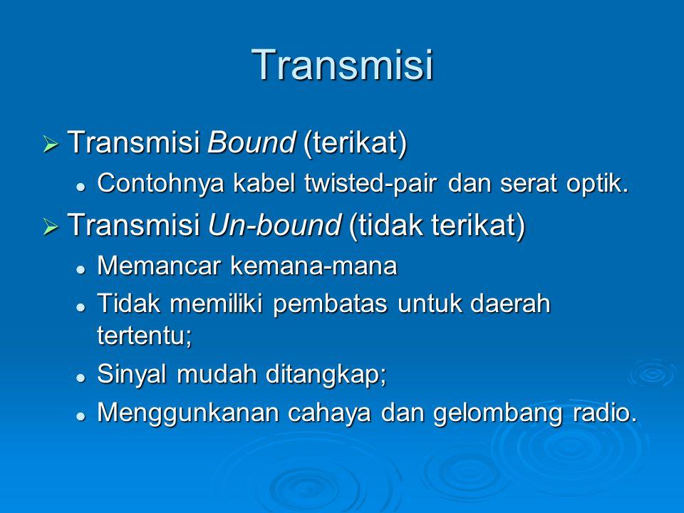 Transmisi  Transmisi Bound (terikat) Contohnya kabel twisted-pair dan serat optik. Contohnya kabel twisted-pair dan serat optik.  Transmisi Un-bound