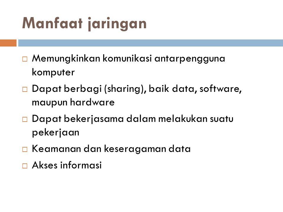 Manfaat jaringan  Memungkinkan komunikasi antarpengguna komputer  Dapat berbagi (sharing), baik data, software, maupun hardware  Dapat bekerjasama