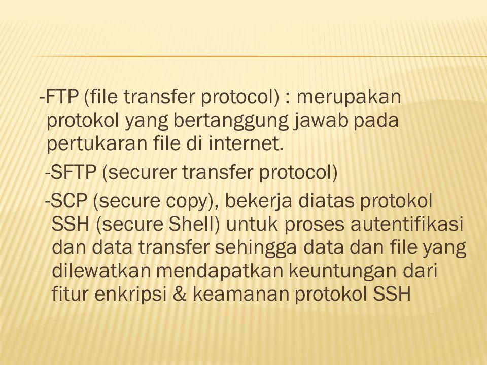 -FTP (file transfer protocol) : merupakan protokol yang bertanggung jawab pada pertukaran file di internet.