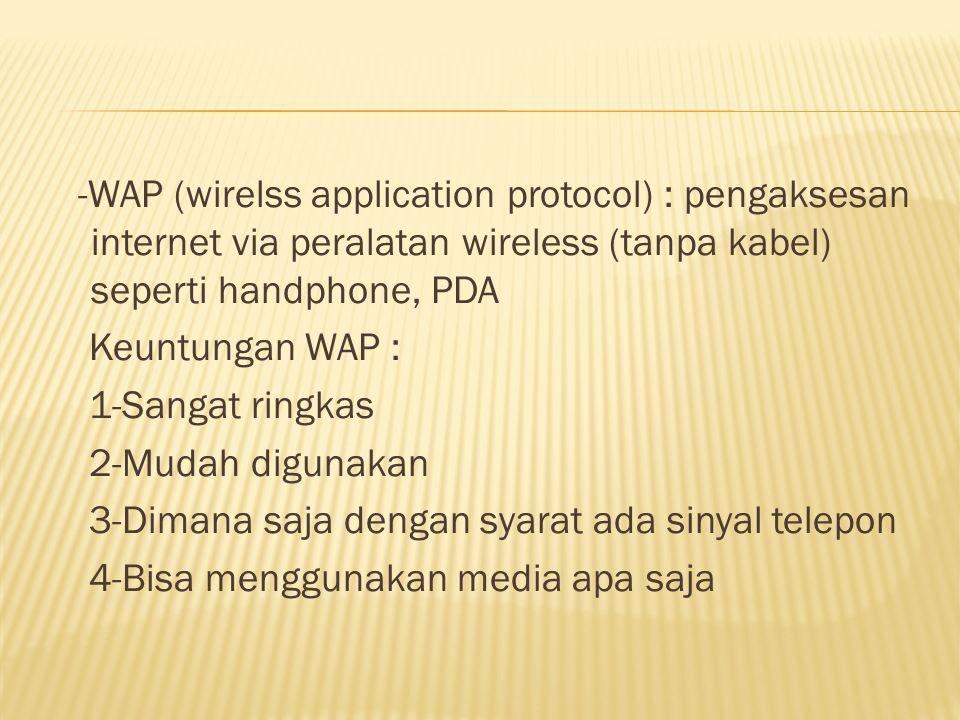 -WAP (wirelss application protocol) : pengaksesan internet via peralatan wireless (tanpa kabel) seperti handphone, PDA Keuntungan WAP : 1-Sangat ringkas 2-Mudah digunakan 3-Dimana saja dengan syarat ada sinyal telepon 4-Bisa menggunakan media apa saja