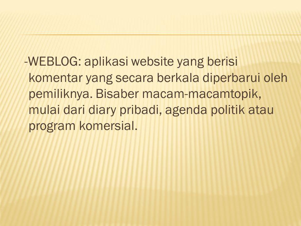 -WEBLOG: aplikasi website yang berisi komentar yang secara berkala diperbarui oleh pemiliknya.