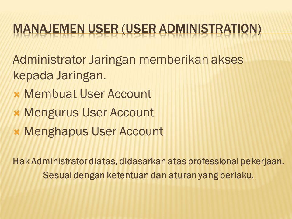 Administrator Jaringan memberikan akses kepada Jaringan.