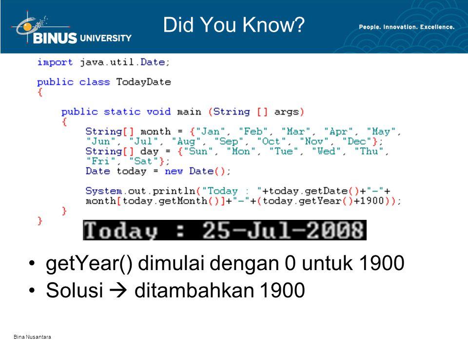 Bina Nusantara getYear() dimulai dengan 0 untuk 1900 Solusi  ditambahkan 1900 Did You Know