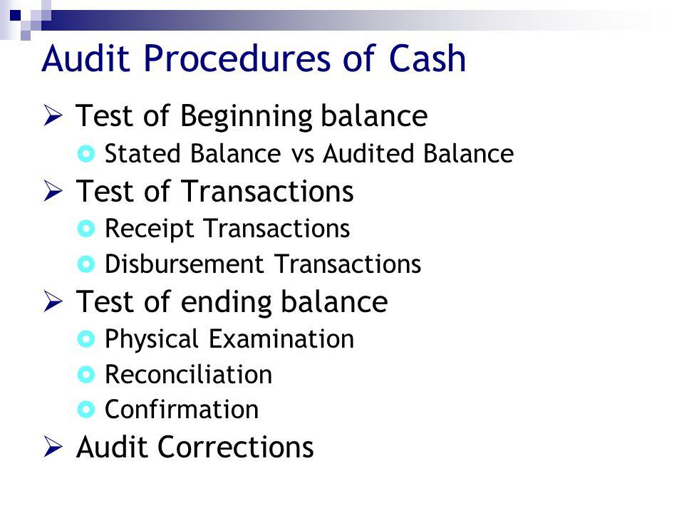 Audit Procedures of Cash  Test of Beginning balance  Stated Balance vs Audited Balance  Test of Transactions  Receipt Transactions  Disbursement