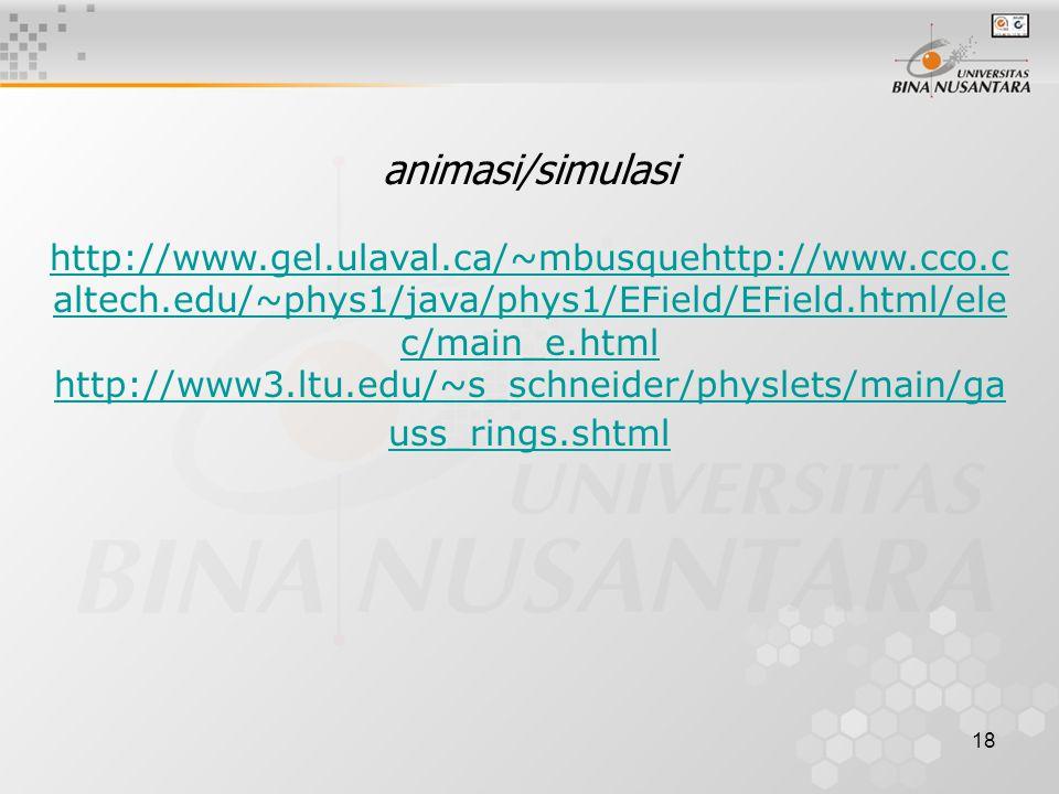 18 animasi/simulasi http://www.gel.ulaval.ca/~mbusquehttp://www.cco.c altech.edu/~phys1/java/phys1/EField/EField.html/ele c/main_e.html http://www3.ltu.edu/~s_schneider/physlets/main/ga uss_rings.shtml