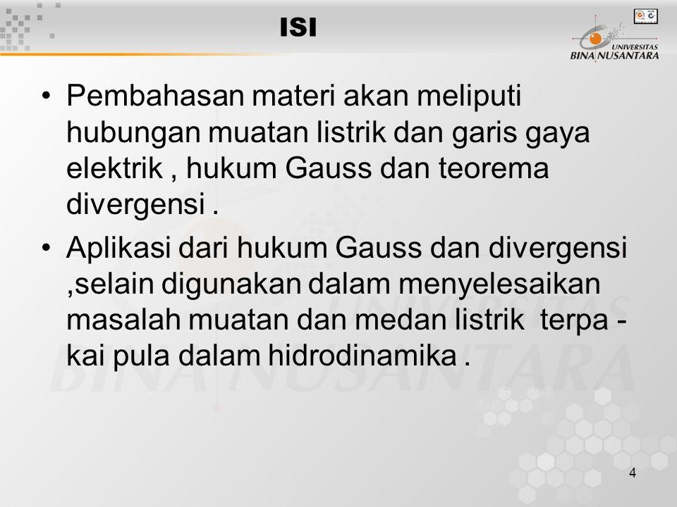 4 ISI Pembahasan materi akan meliputi hubungan muatan listrik dan garis gaya elektrik, hukum Gauss dan teorema divergensi.