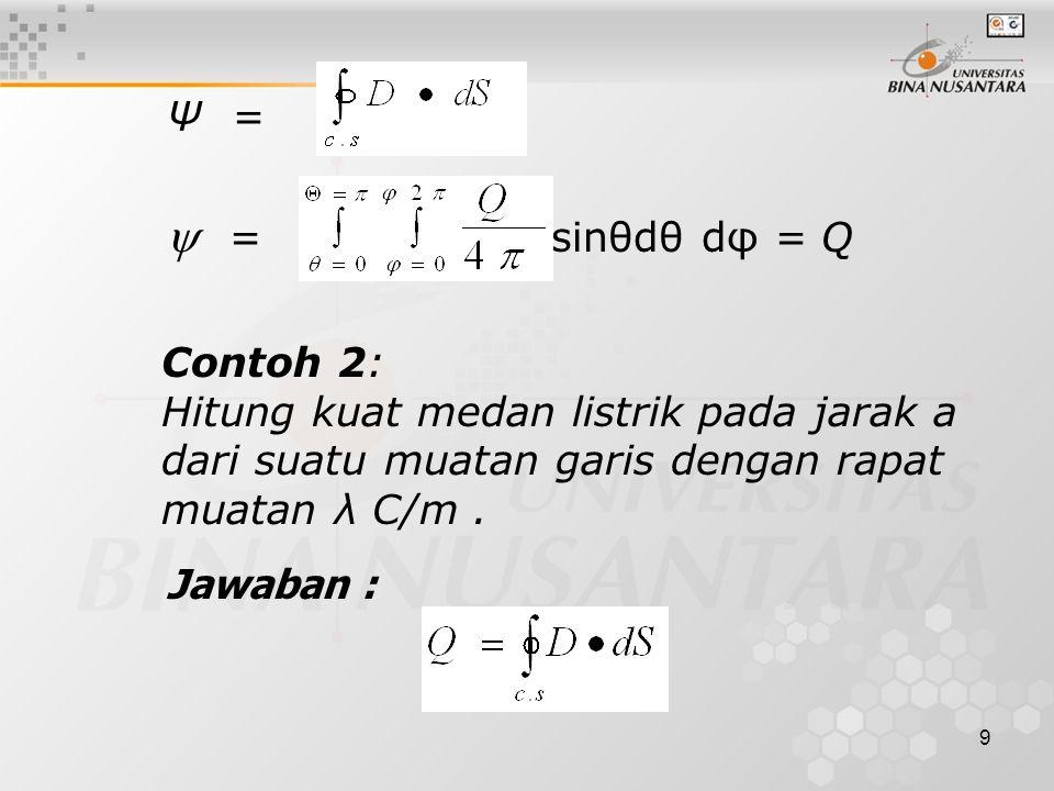 9 Ψ =  = sinθdθ dφ = Q Contoh 2: Hitung kuat medan listrik pada jarak a dari suatu muatan garis dengan rapat muatan λ C/m.