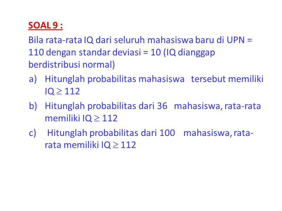 SOAL 9 : Bila rata-rata IQ dari seluruh mahasiswa baru di UPN = 110 dengan standar deviasi = 10 (IQ dianggap berdistribusi normal) a)Hitunglah probabi