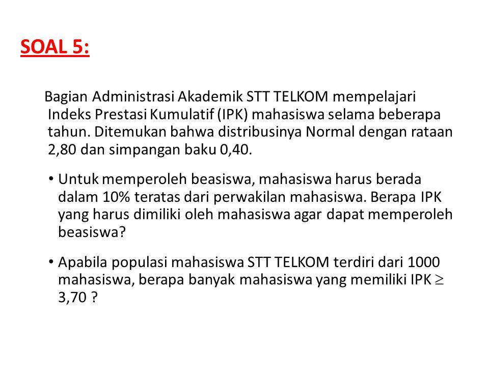 Bagian Administrasi Akademik STT TELKOM mempelajari Indeks Prestasi Kumulatif (IPK) mahasiswa selama beberapa tahun. Ditemukan bahwa distribusinya Nor
