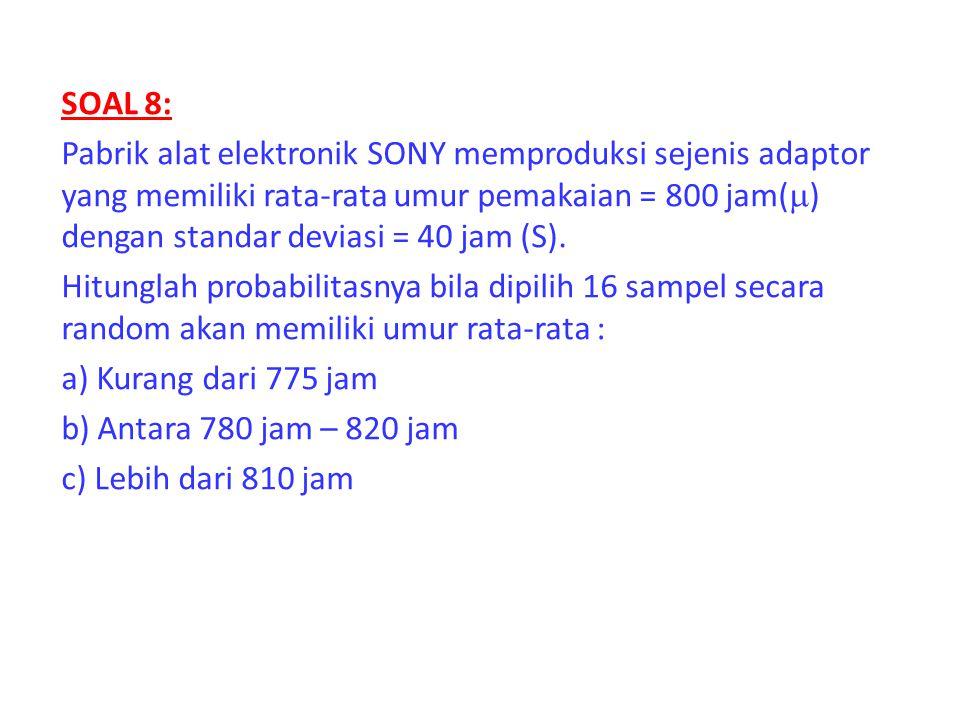 SOAL 8: Pabrik alat elektronik SONY memproduksi sejenis adaptor yang memiliki rata-rata umur pemakaian = 800 jam(  ) dengan standar deviasi = 40 jam