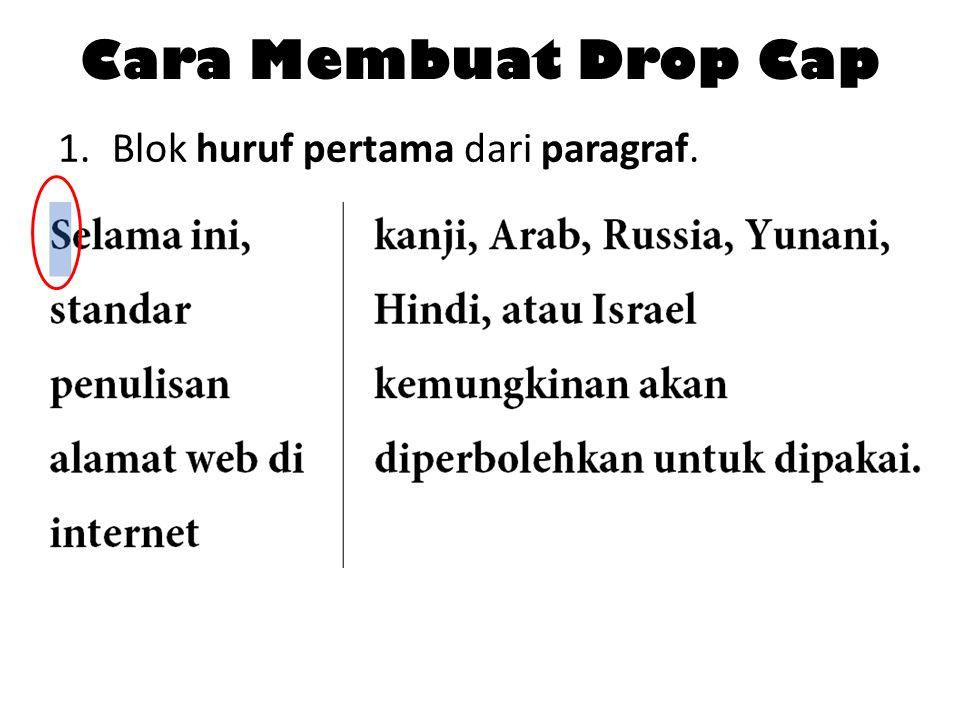 Cara Membuat Drop Cap 1.Blok huruf pertama dari paragraf.