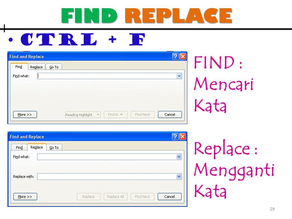 FIND REPLACE CTRL + F 29 FIND : Mencari Kata Replace : Mengganti Kata