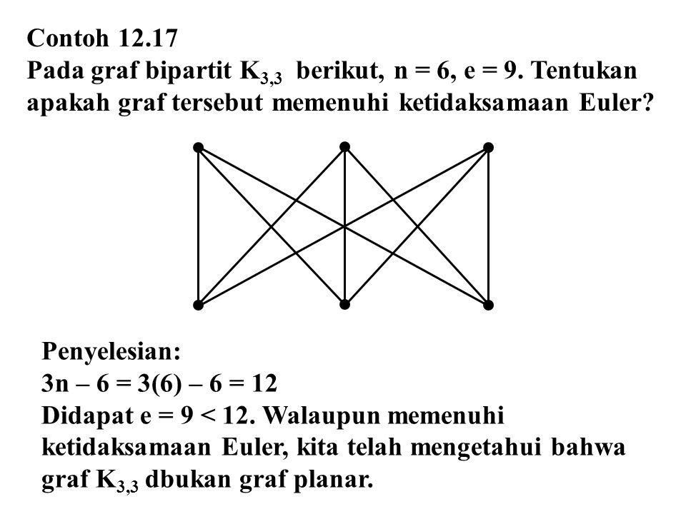Contoh 12.17 Pada graf bipartit K 3,3 berikut, n = 6, e = 9. Tentukan apakah graf tersebut memenuhi ketidaksamaan Euler? Penyelesian: 3n – 6 = 3(6) –