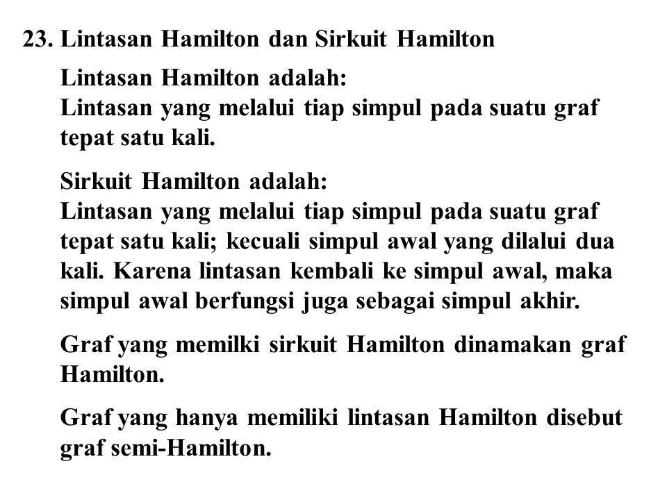 23. Lintasan Hamilton dan Sirkuit Hamilton Lintasan Hamilton adalah: Lintasan yang melalui tiap simpul pada suatu graf tepat satu kali. Sirkuit Hamilt
