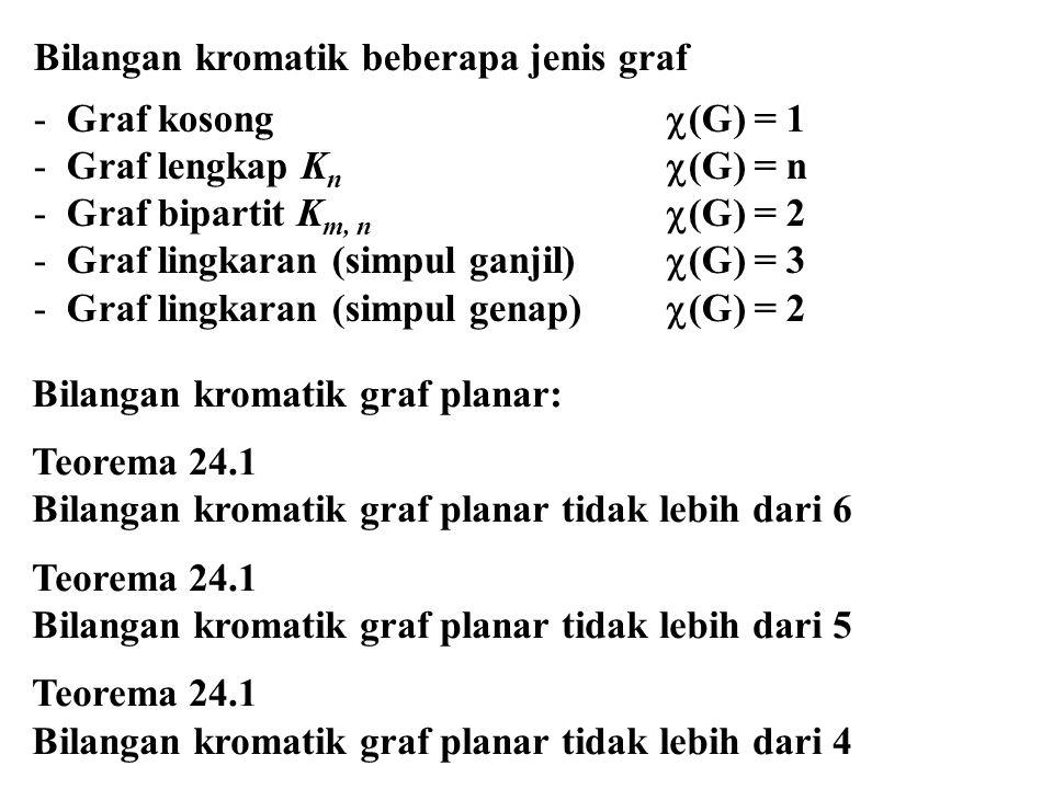 Bilangan kromatik beberapa jenis graf -Graf kosong  (G) = 1 -Graf lengkap K n  (G) = n -Graf bipartit K m, n  (G) = 2 -Graf lingkaran (simpul ganji