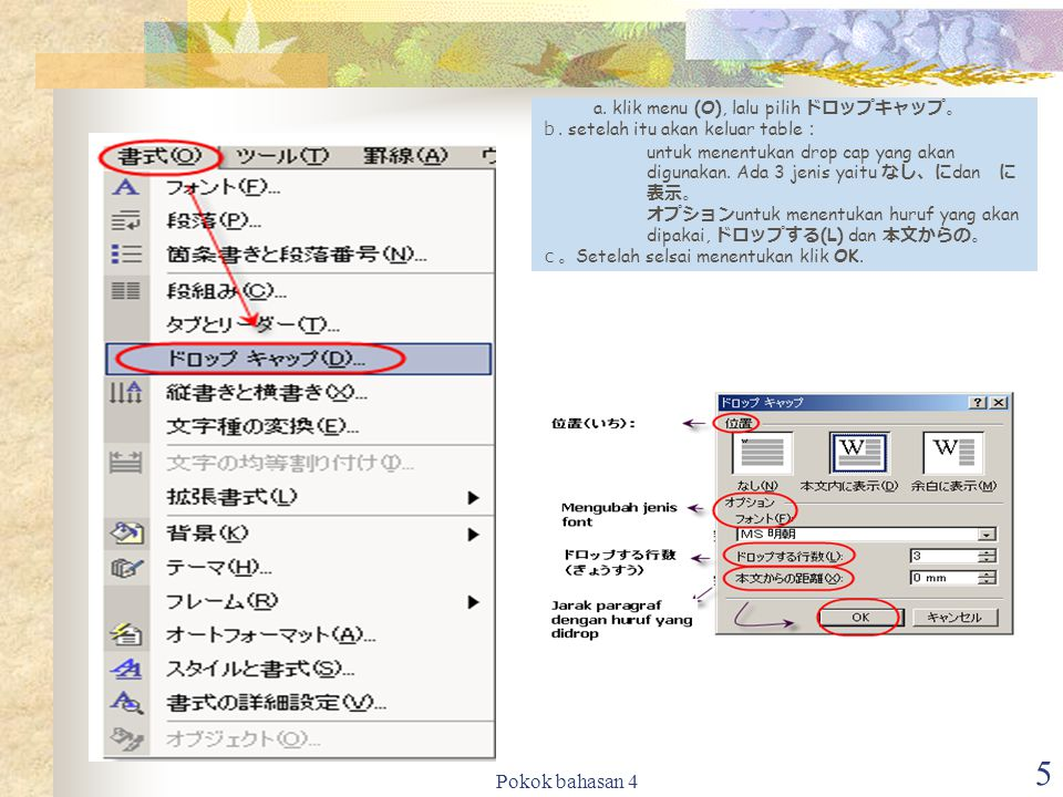 Pokok bahasan 4 5 a.klik menu (O), lalu pilih ドロップキャップ。 b.