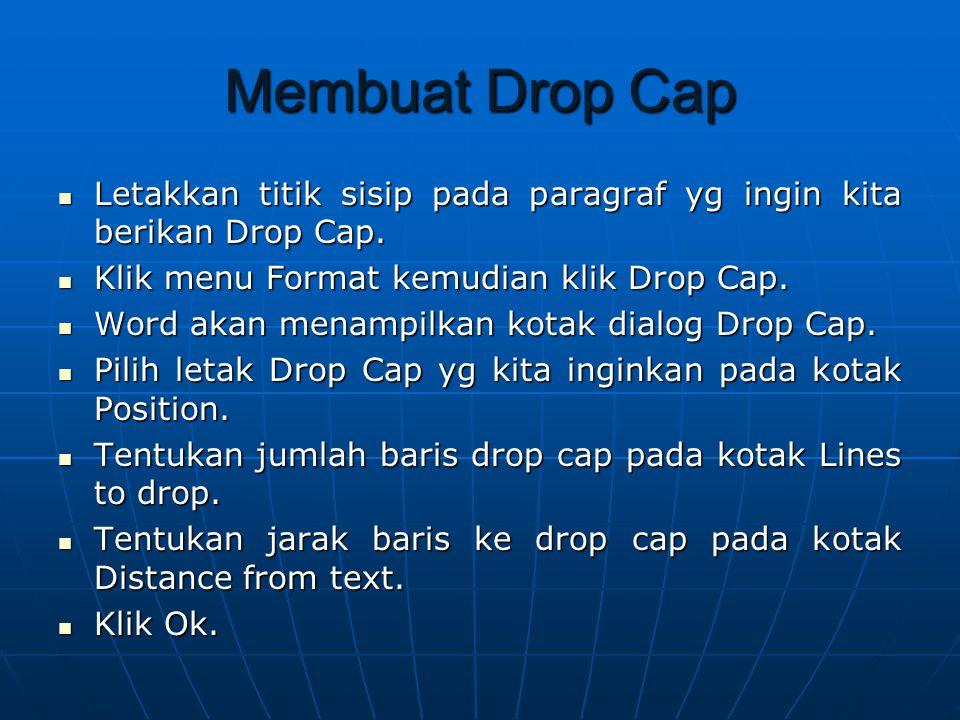 Membuat Drop Cap Letakkan titik sisip pada paragraf yg ingin kita berikan Drop Cap.