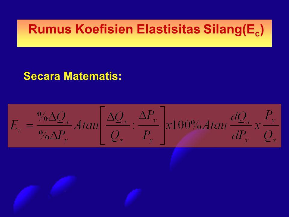 Secara Matematis: Rumus Koefisien Elastisitas Silang(E c )